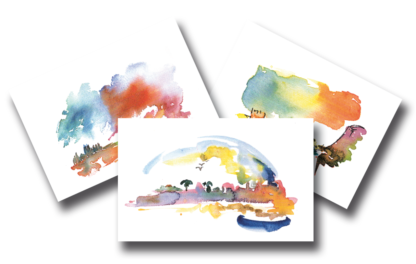 Vu cartes de dos - graphisme aquarelle